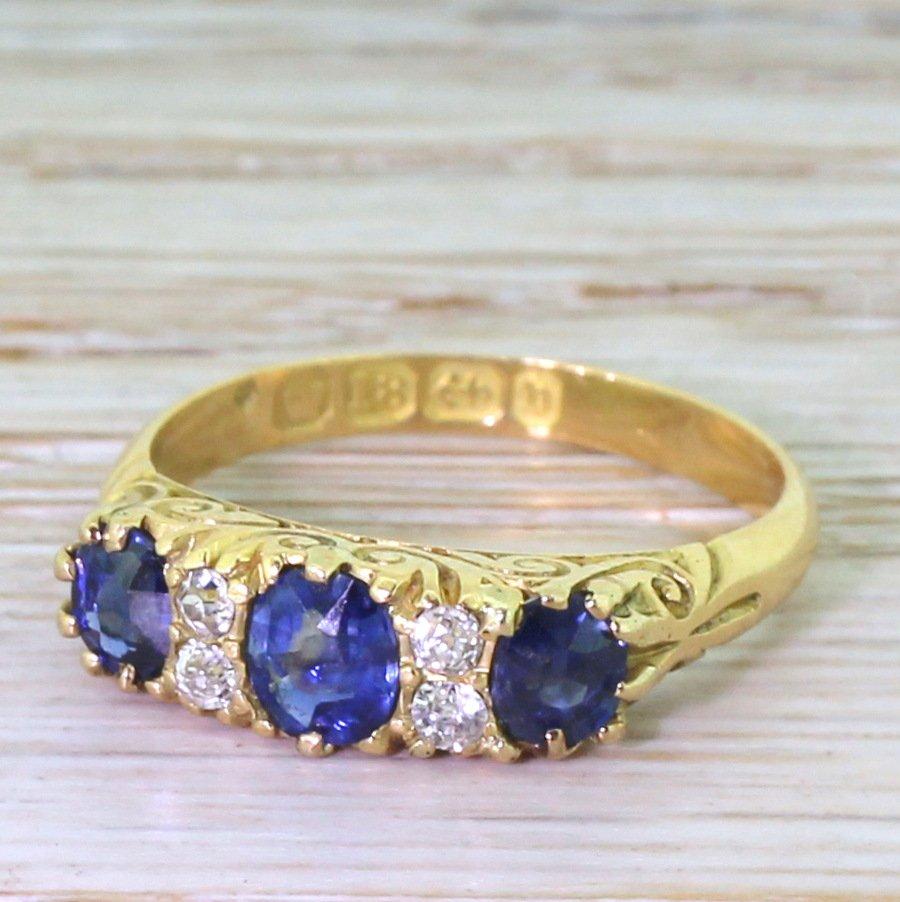 victorian 075 carat sapphire 038 diamond ring dated 1876
