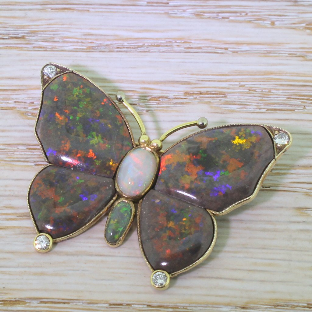 mid century black grey 038 green opal butterfly brooch circa 1950