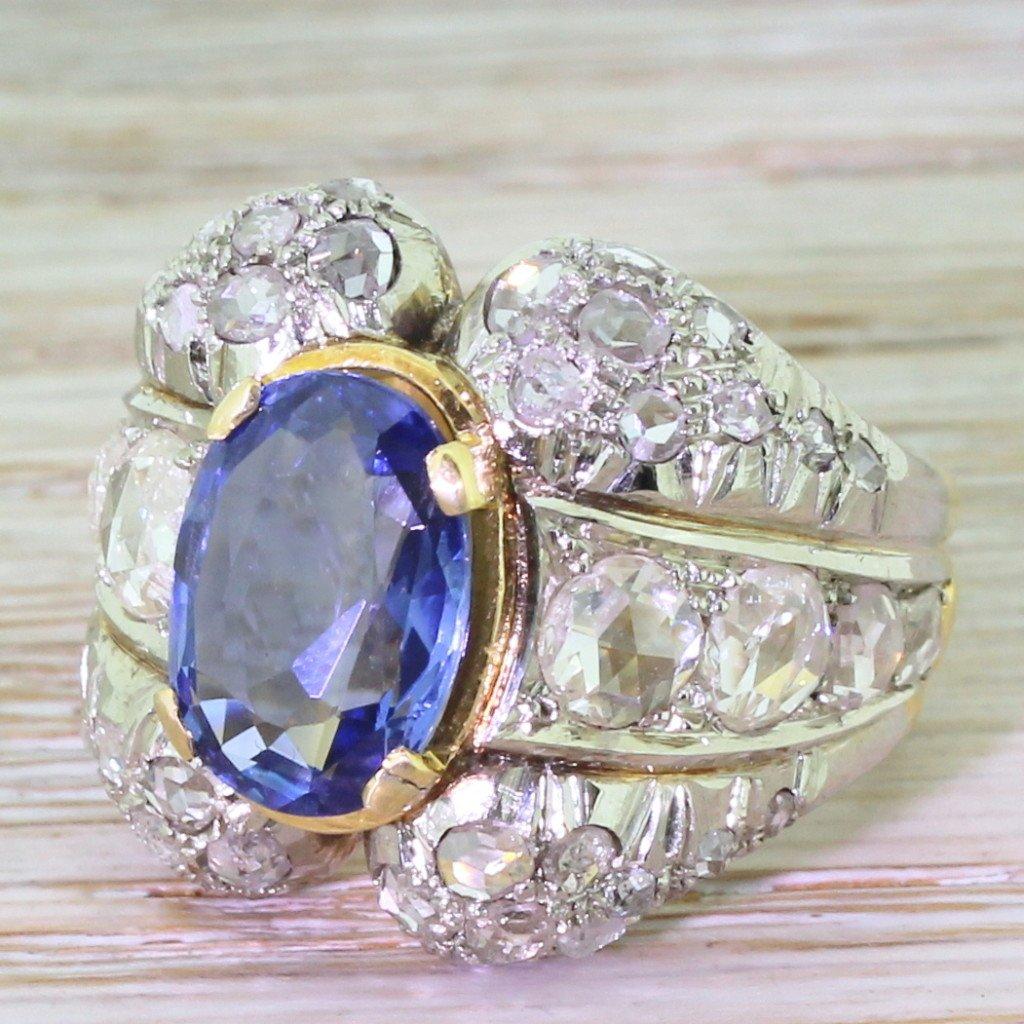 art deco 407 carat natural sapphire 038 rose cut diamond ring circa 1930