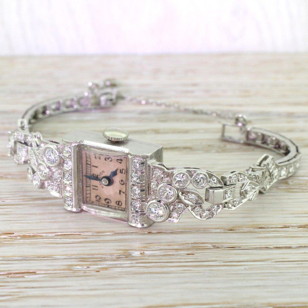 hamilton 192 carat diamond 038 platinum cocktail watch circa 1950