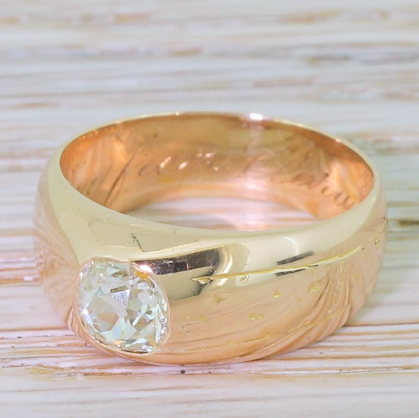 victorian 070 carat old cut diamond solitaire ring dated 1890