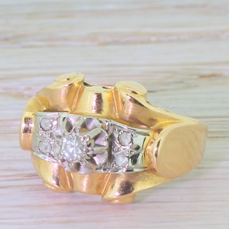 art deco 010 carat eight cut diamond 8220scroll8221 ring french circa 1935