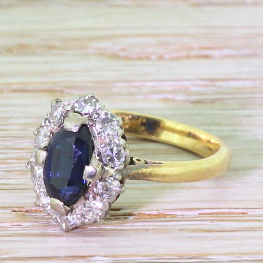 art deco 075 carat sapphire 038 diamond oval cluster ring circa 1930