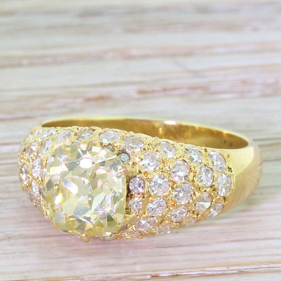 art deco 204 carat fancy light yellow old cut diamond engagement ring french circa 1935