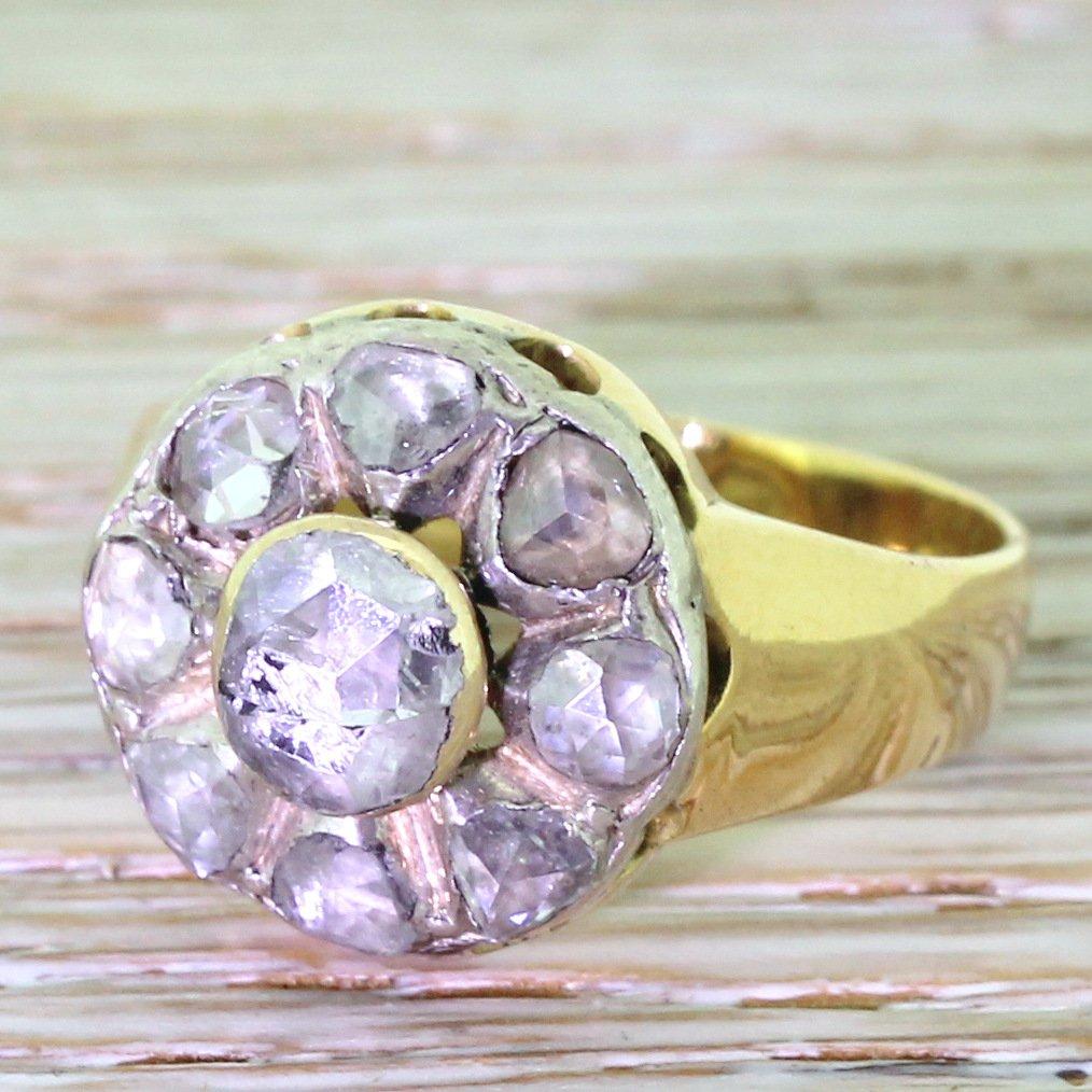 victorian 100 carat rose cut diamond cluster ring chester 1898
