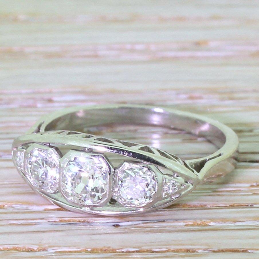 art deco 105 carat old cut diamond trilogy ring circa 1930
