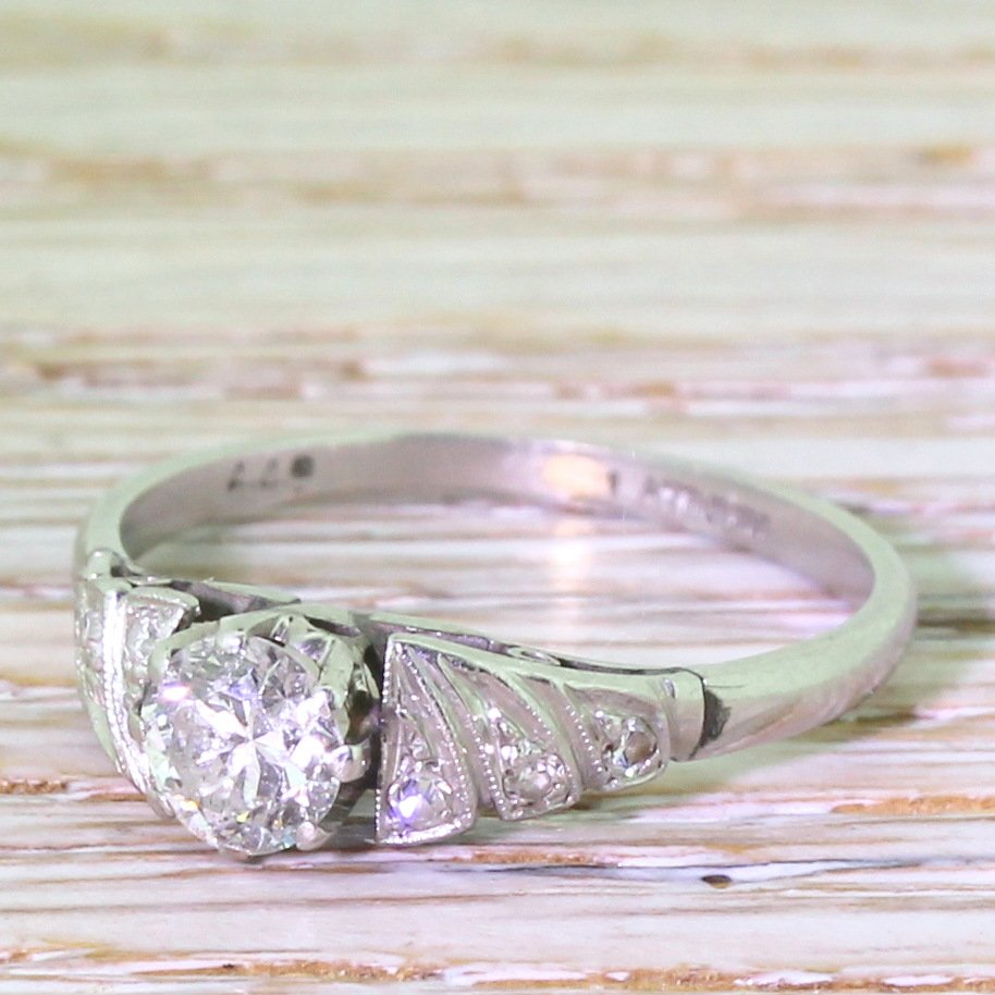 art deco 040 carat transitional cut diamond engagement ring circa 1935