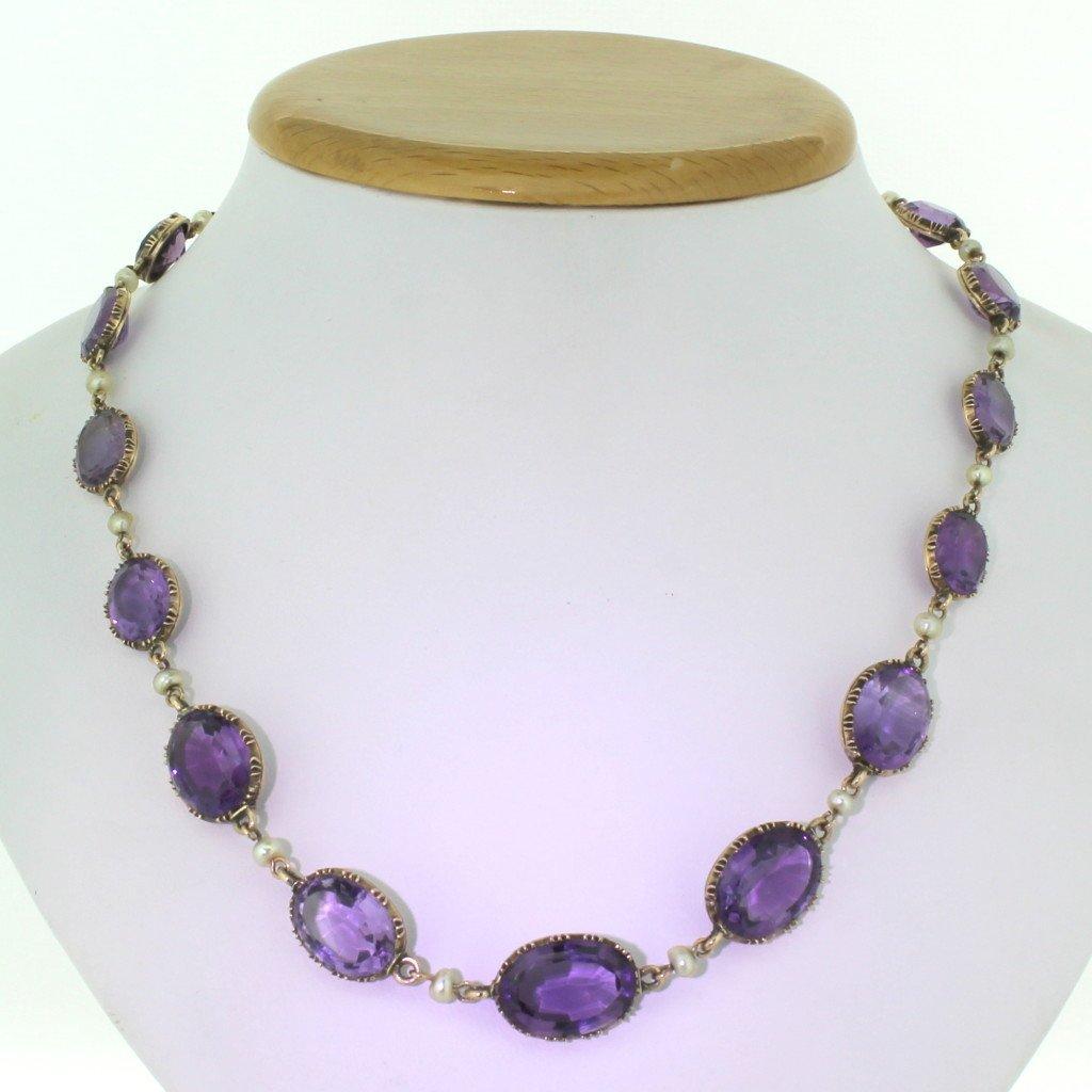 victorian amethyst 038 pearl riviere necklace circa 1880