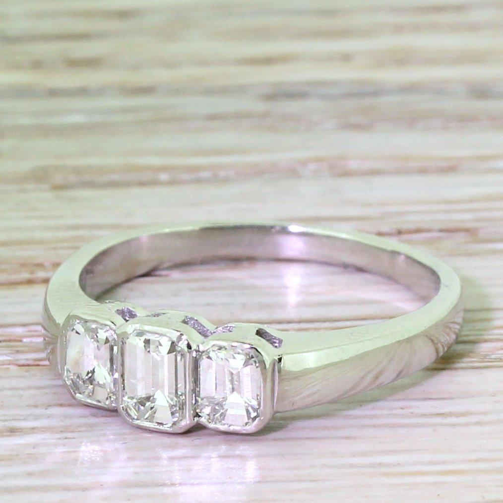 retro 075 carat emerald cut diamond trilogy ring circa 1950