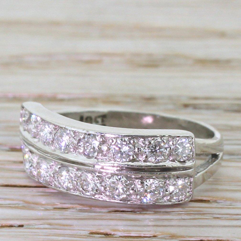 late 20th century 080 carat diamond two row ring circa 1970
