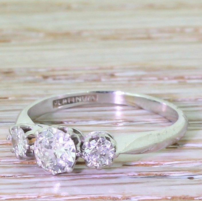 art deco 050 carat old cut diamond trilogy ring circa 1920