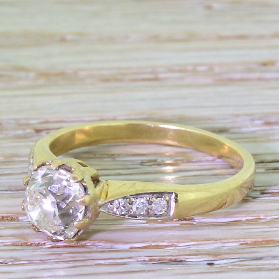 mid century 126 carat old cut diamond engagement ring circa 1965