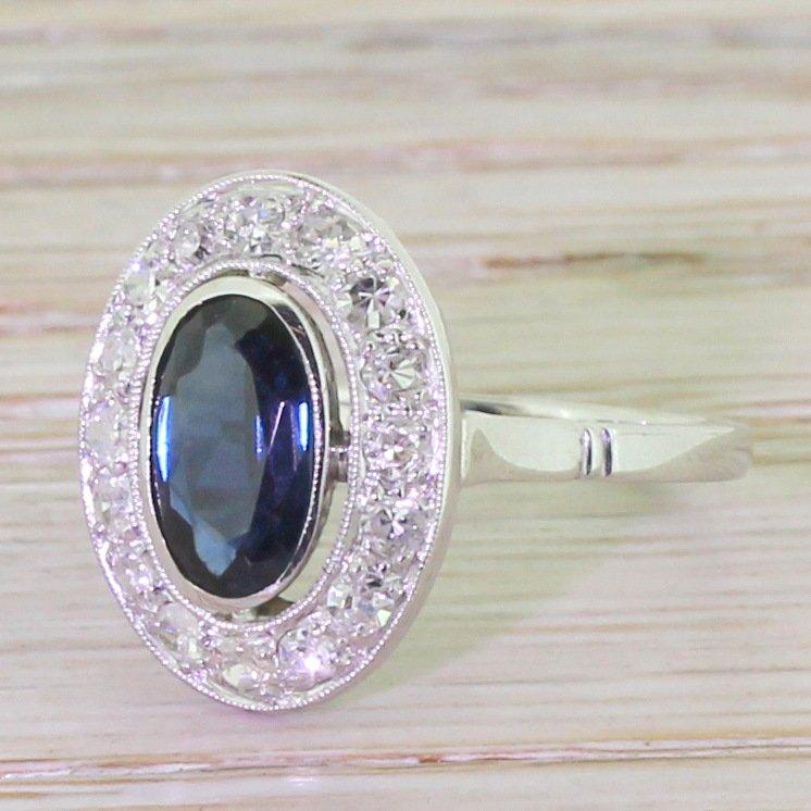 art deco 125 carat sapphire diamond halo ring french circa 1935