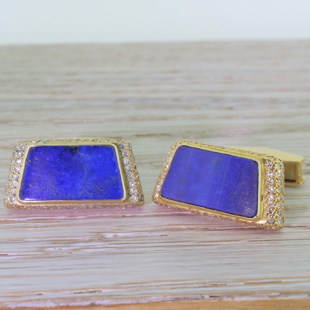 mid century lapis lazuli 038 diamond cufflinks circa 1965