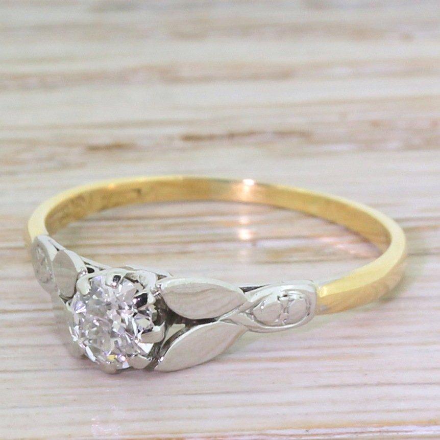 art deco 035 carat old cut diamond engagement ring circa 1925