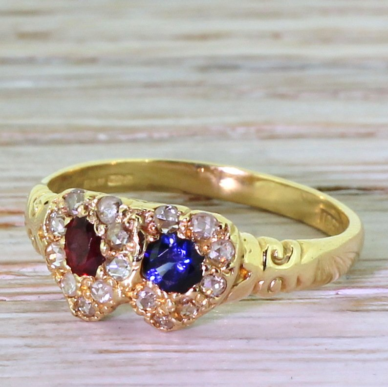 ruby sapphire 038 rose cut diamond sweetheart ring