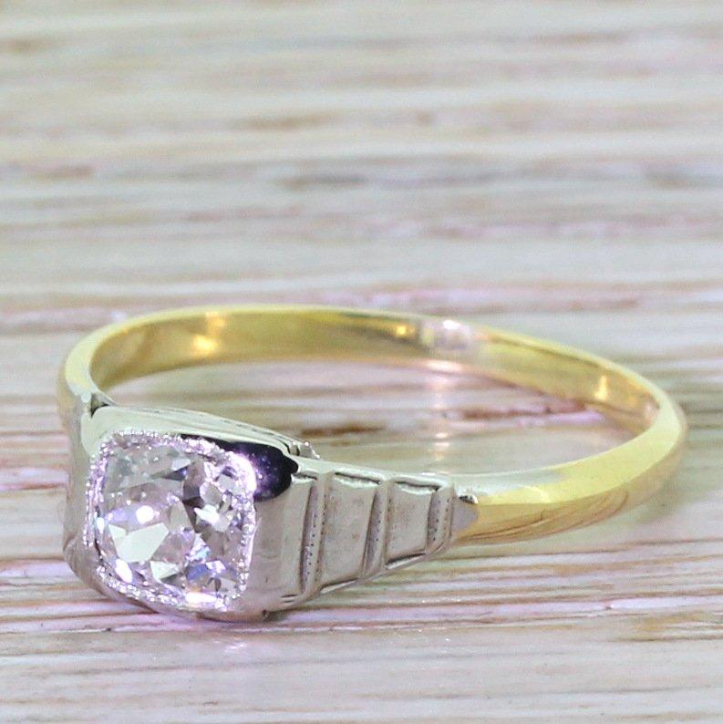 art deco 070 carat old cushion cut diamond engagement ring circa 1925