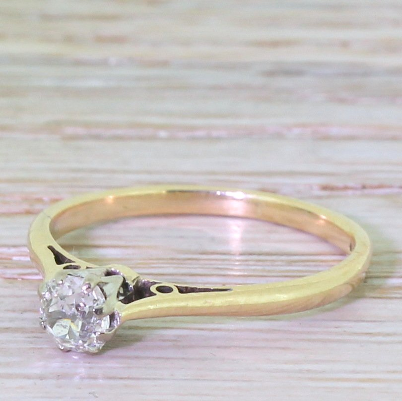 late 20th century 040 carat old cut diamond engagement ring dated 1984