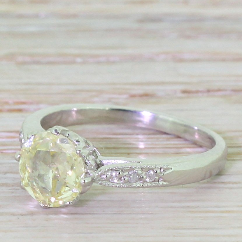 art deco 079 carat modified rose cut diamond engagement ring circa 1920