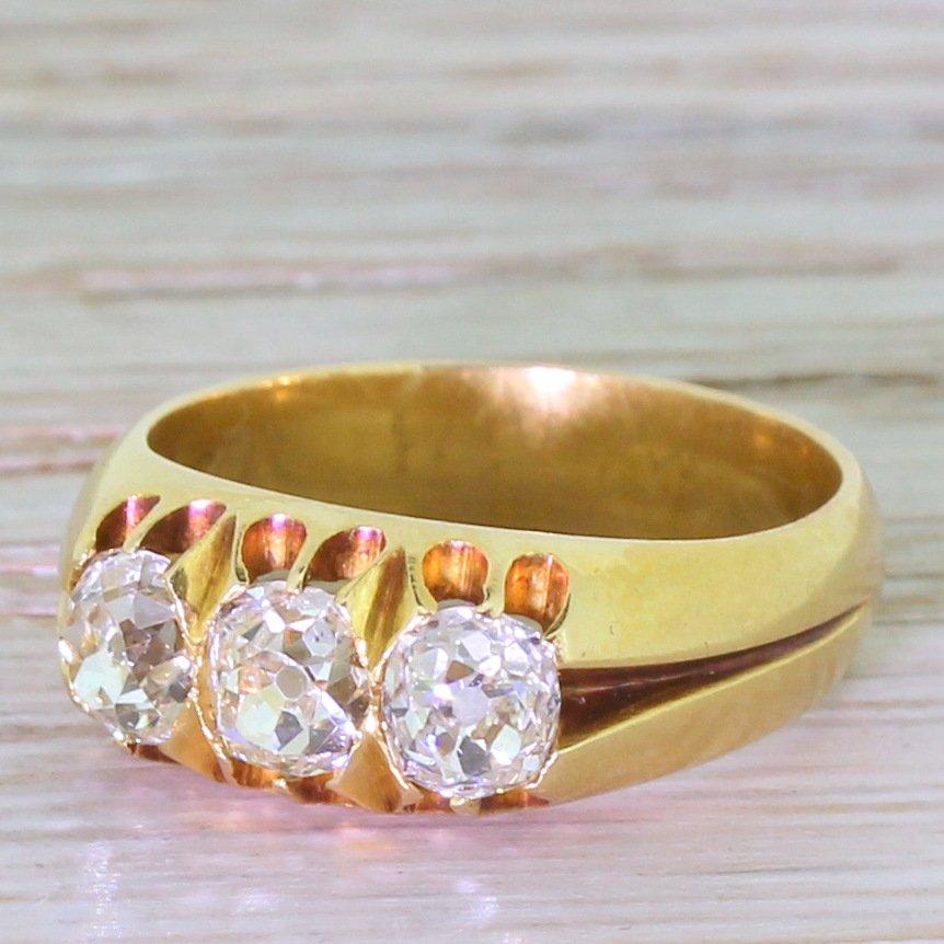 victorian 150 carat old cut diamond trilogy ring circa 1880