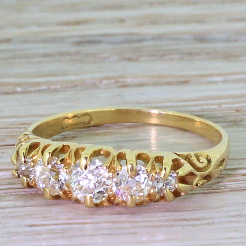 victorian 065 carat old cut diamond five stone ring circa 1900
