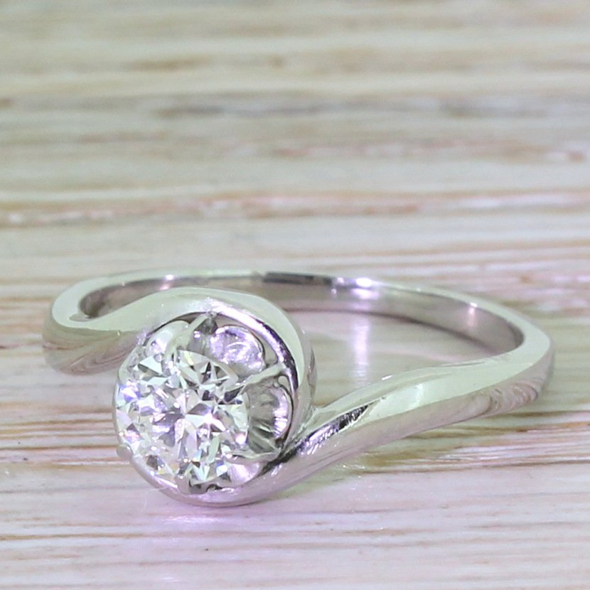 art deco 050 carat old cut diamond engagement ring dutch circa 1955