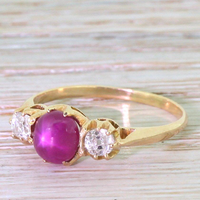victorian star ruby 038 old cut diamond trilogy ring circa 1900