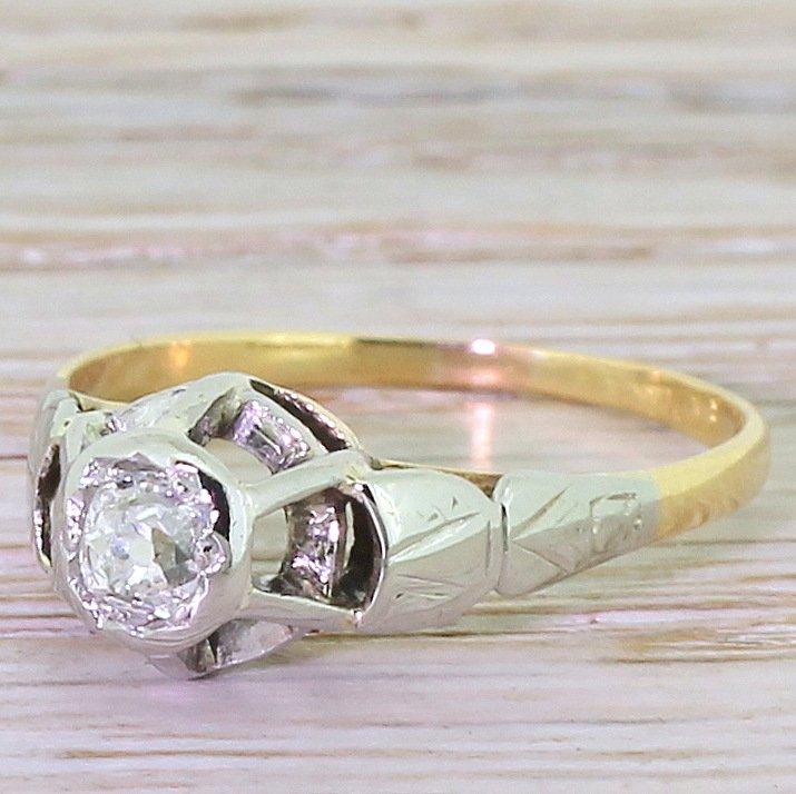 retro 030 carat old cut diamond engagement ring circa 1945