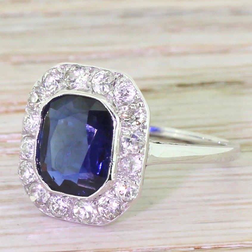art deco 250 carat sapphire 038 old cut diamond ring austrian circa 1930