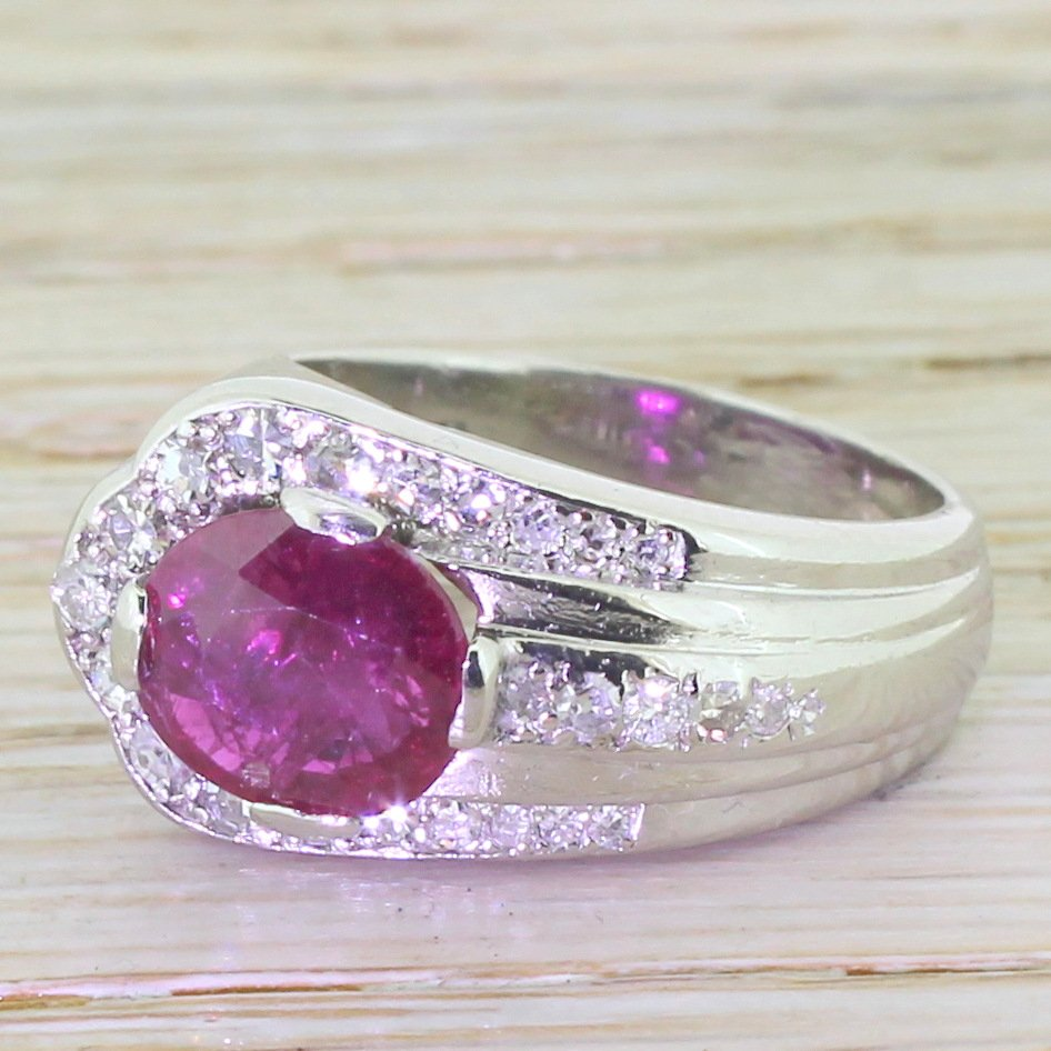 mid century 227 carat ruby asymmetrical cocktail ring circa 1955