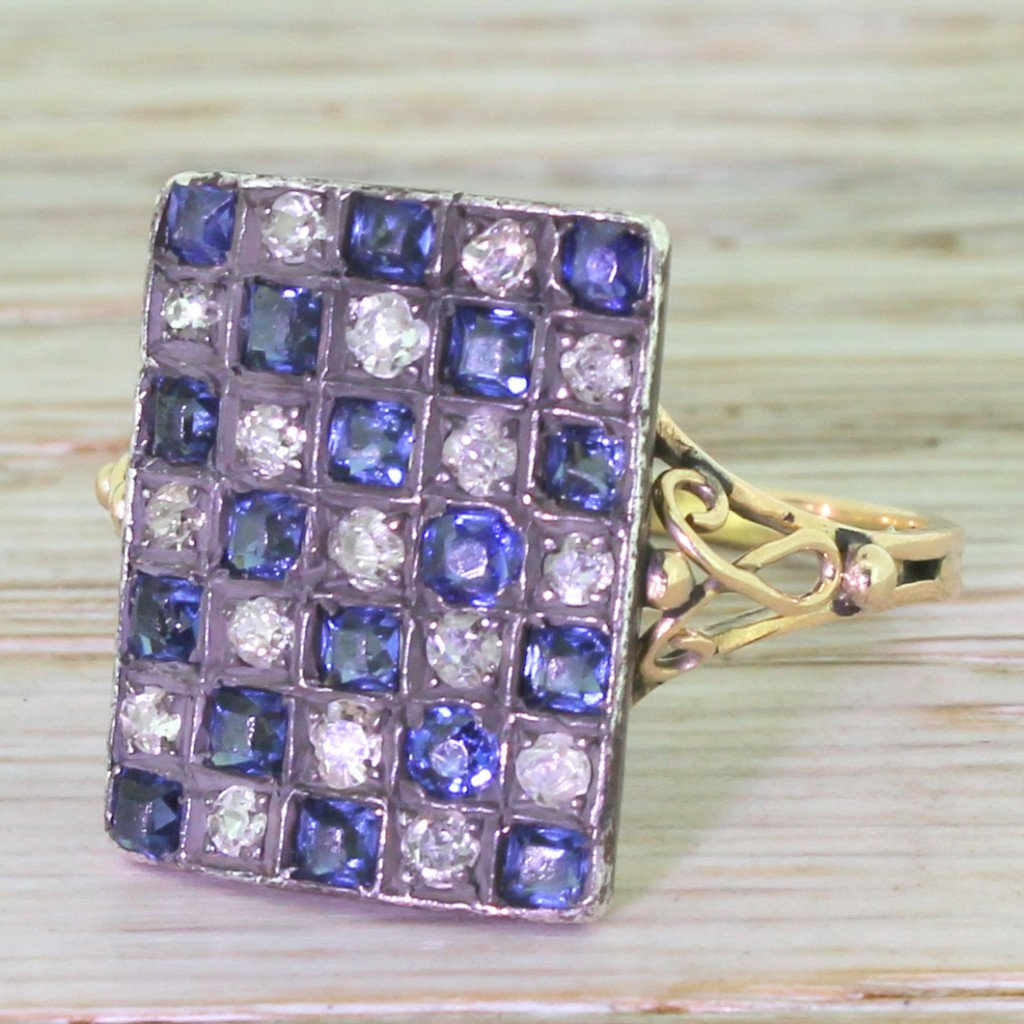 edwardian sapphire 038 diamond checkerboard plaque ring circa 1905