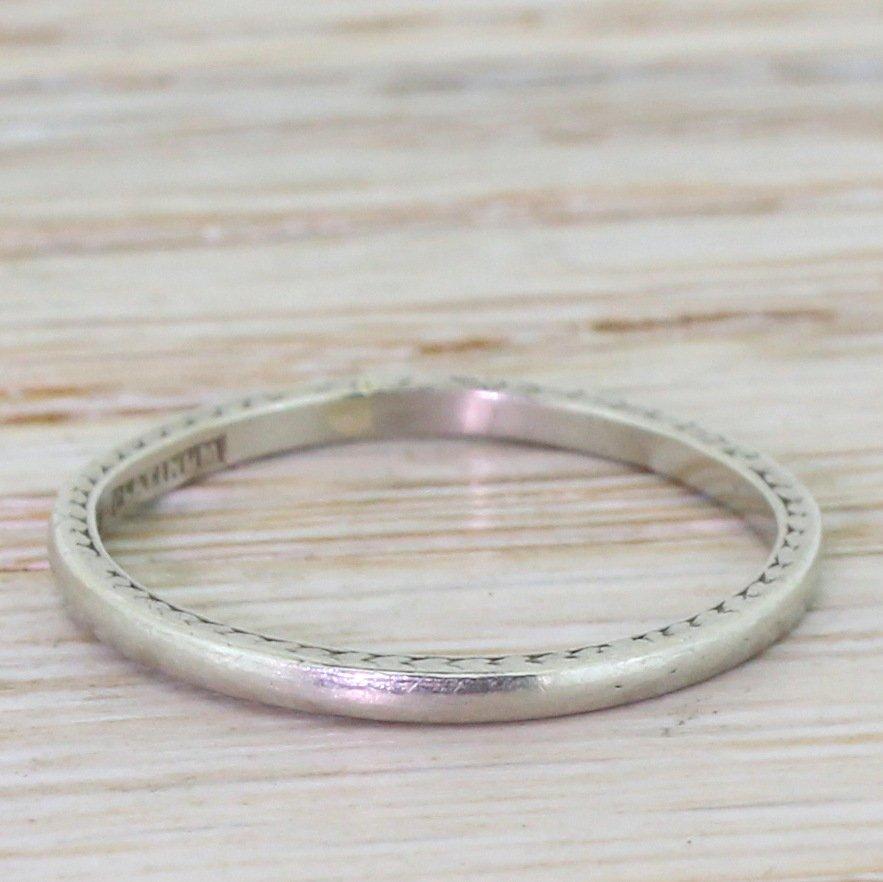 art deco 2mm wedding ring platinum dated 1938