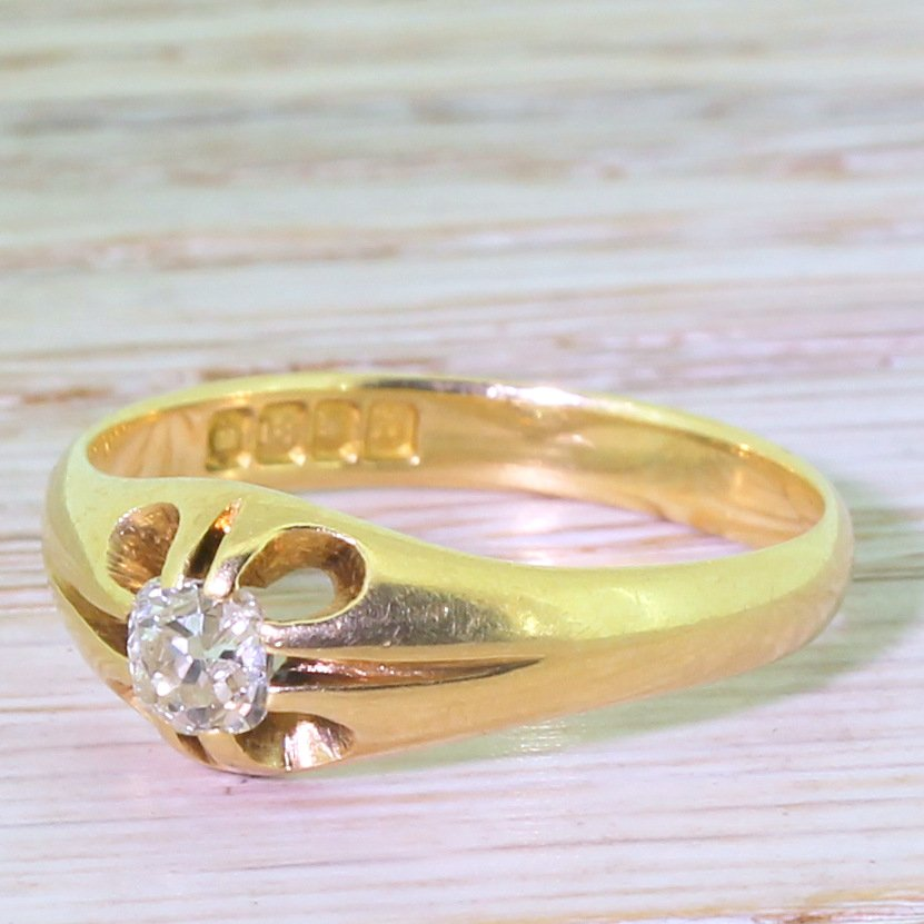 early 20th century 035 carat old cut diamond gypsy style ring dated 1917