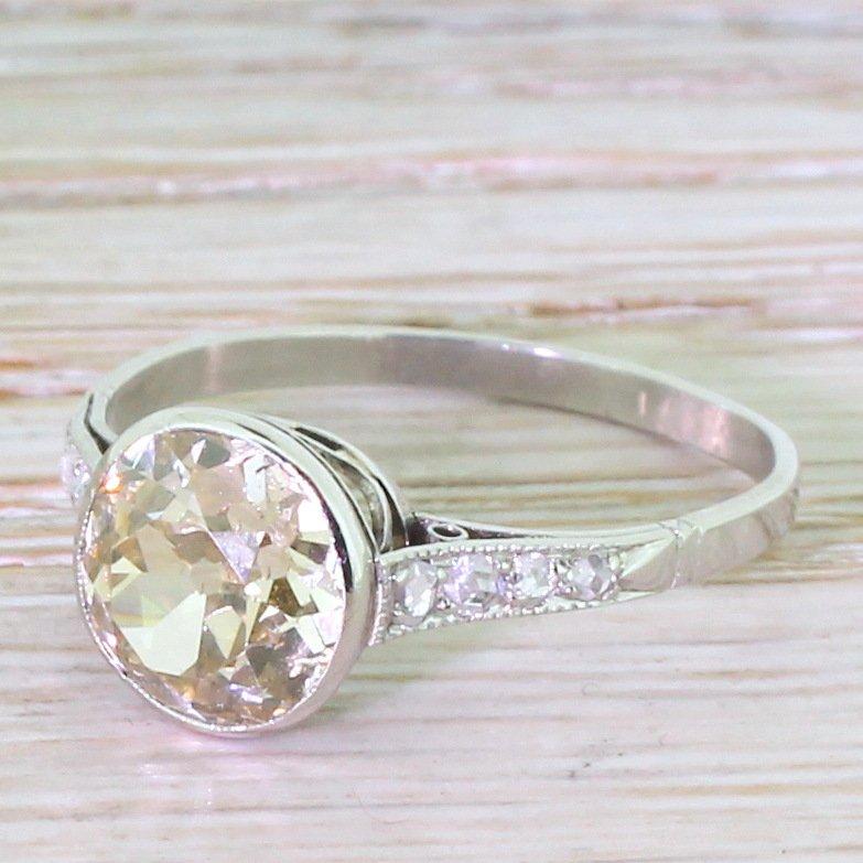 art deco 225 carat fancy light brown old cut diamond engagement ring circa 1935