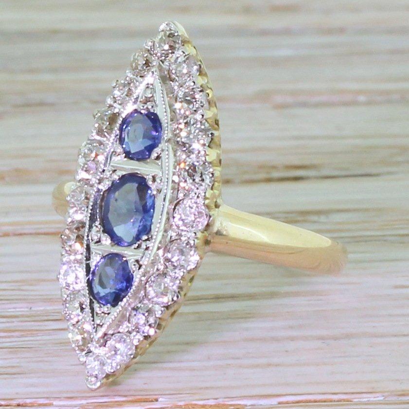 art deco sapphire 038 old cut diamond navette ring circa 1930