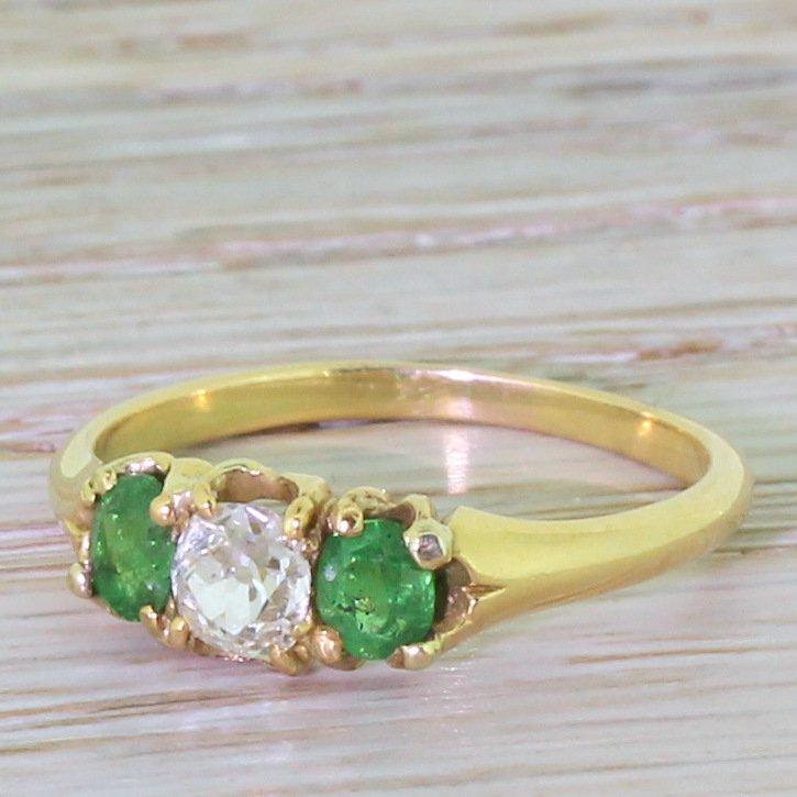 victorian old cut diamond 038 demantoid garnet trilogy ring circa 1900