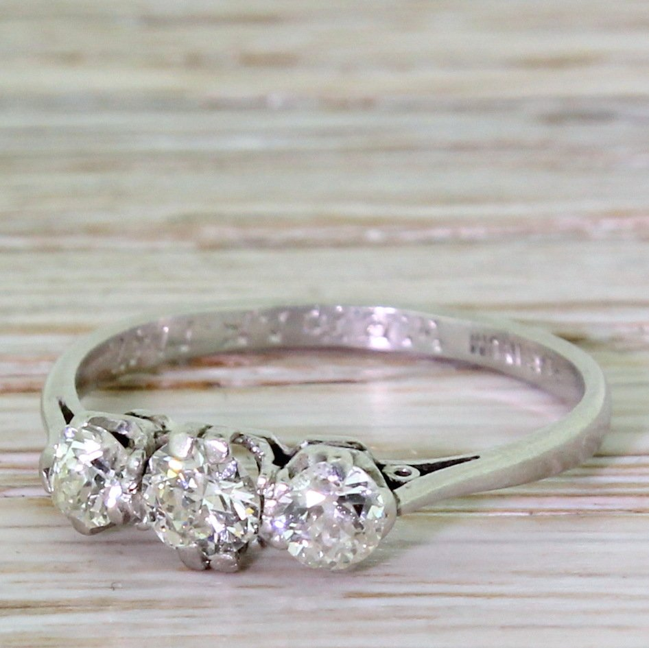 art deco 065 carat old cut diamond trilogy ring dated 1947