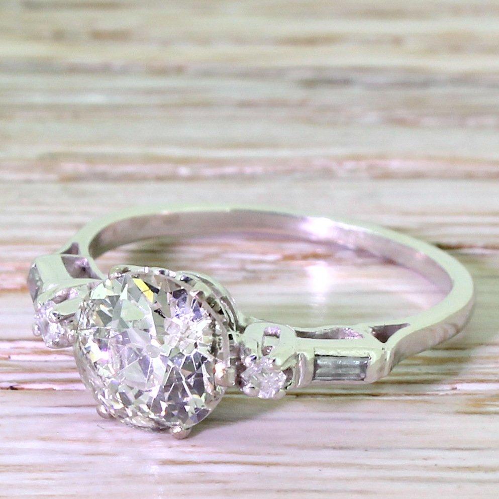 art deco 180 carat old cut diamond engagement ring circa 1925