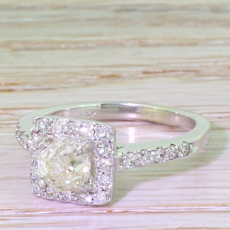 105 carat old cut diamond engagement ring white gold