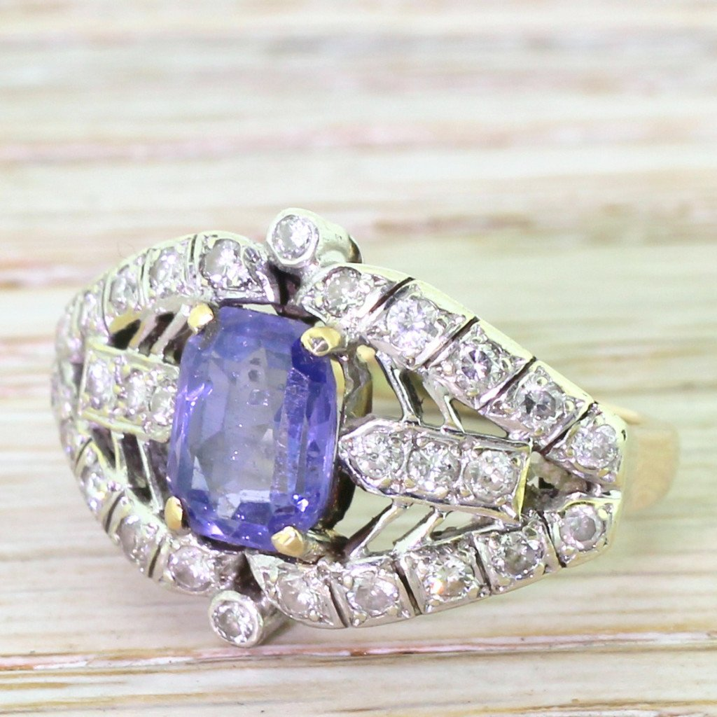 mid century 244 carat purple sapphire 038 diamond cocktail ring circa 1960