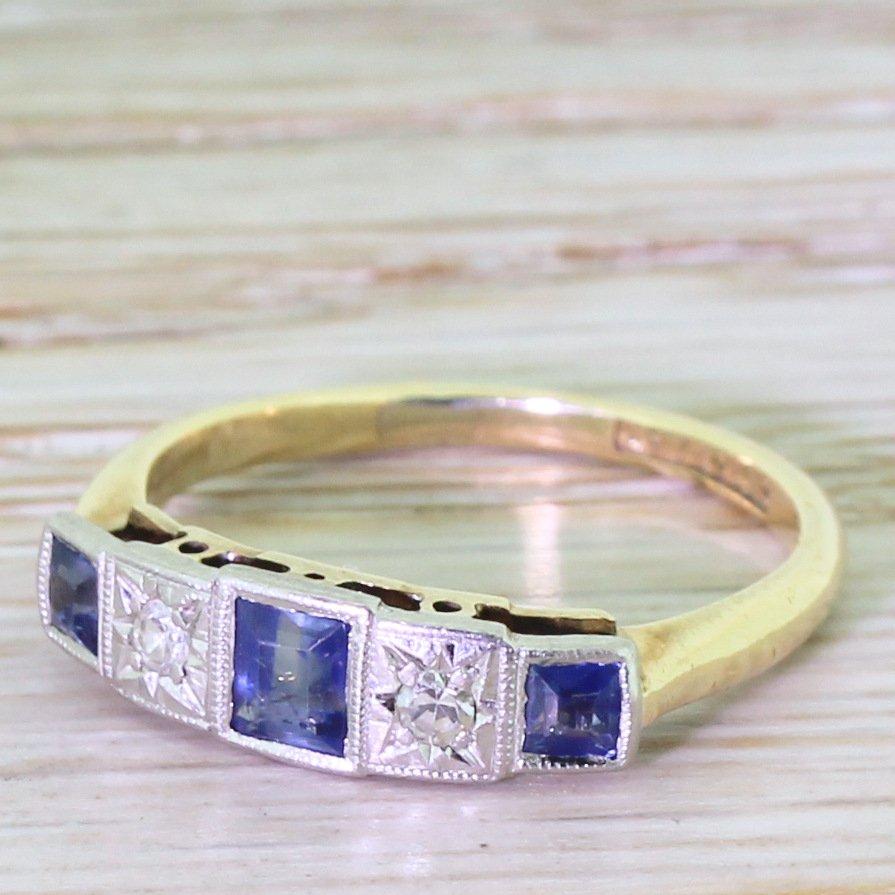 art deco stepcut sapphire 038 diamond five stone ring circa 1935
