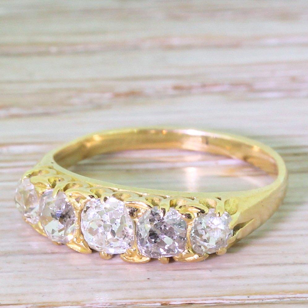 edwardian 120 carat old cut diamond five stone diamond ring circa 1910