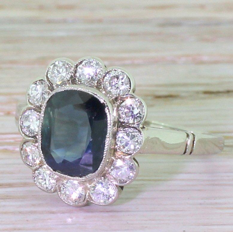 mid century 225 carat sapphire 038 diamond cluster ring circa 1950