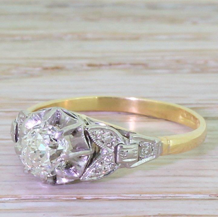 art deco 066 carat old cut diamond engagement ring circa 1920