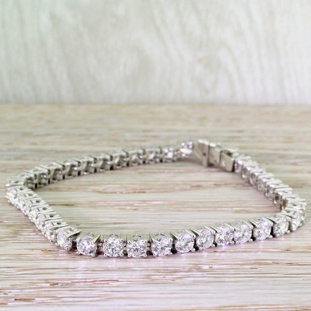 929 carat round brilliant cut diamond tennis bracelet 18k white gold