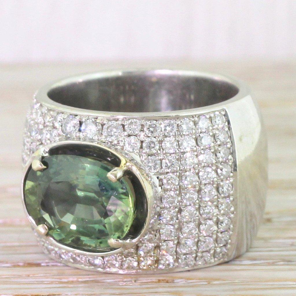 400 carat green sapphire 038 098 carat diamond cocktail ring 18k white gold