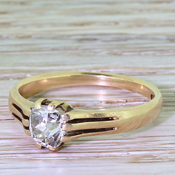 victorian 050 carat old cut diamond solitaire ring circa 1870