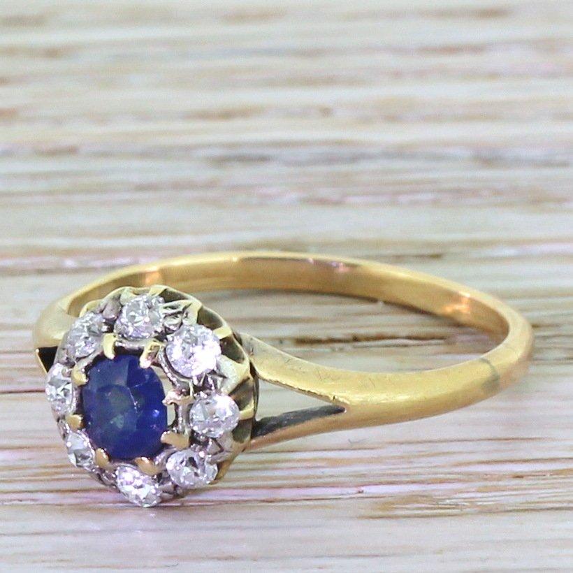 victorian 030 carat sapphire 038 old cut diamond cluster ring circa 1900