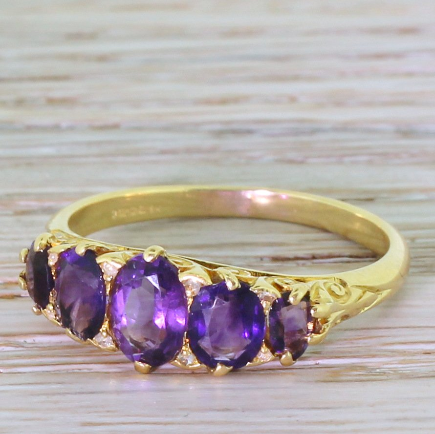 170 carat amethyst five stone ring 18k yellow gold