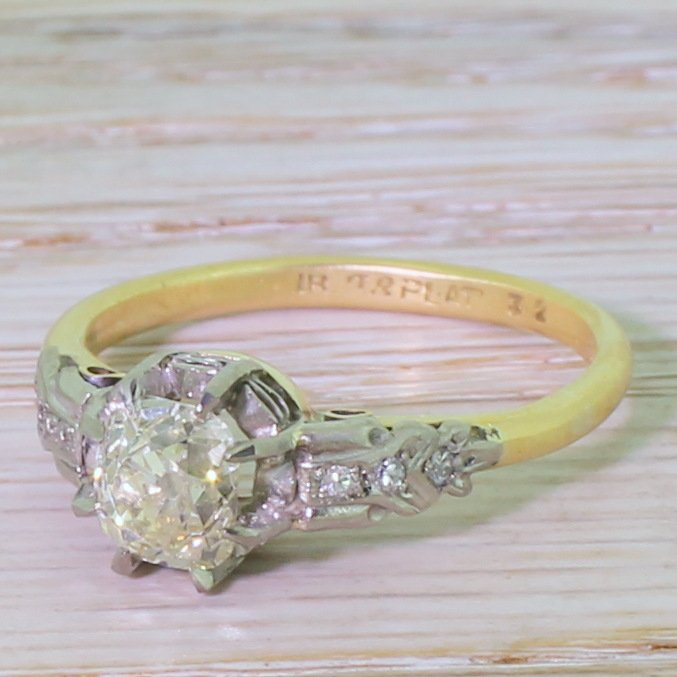 edwardian 105 carat old cut diamond engagement ring circa 1910